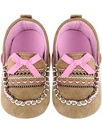 Domybest ブラウン レザー 赤ちゃん ソフトボトム 滑り止め プリンセス幼児靴 女の子 0-18ヶ月に適応靴 幼児用靴 結婚式 誕生日 プレゼント