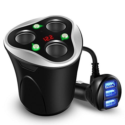 Skyocean シガーソケットコップ型 USBカーチャージャー 3連 (ブラック)