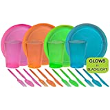 Tiger Chef 40-Piece Neon Assorted Glow Party Supplies Includes Neon Assorted Colors Hard Plastic Plates, Cups and Cutlery in