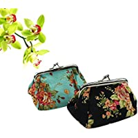 2 Packs Fashion Women Cute Classic Floral Exquisite Clasp Coin Purse Cards Case Flowers Print Wallet For girls