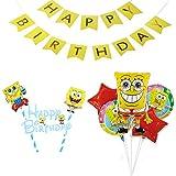 スポンジボブ 誕生日 飾り付け キャラクター イエロー 可愛い 子供 男の子 女の子 ケーキトッパー バルーン 風船 スター レッド happy birthday バナー ガーランド 7枚セット