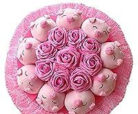 お祝い 可愛い ぶた束 アニマル ぬいぐるみ ギフト プレゼント ベア ブーケ 結婚式 記念日 誕生日成人礼 出産祝い プロポーズ お祝い 卒業式 サプライズ (9匹ブタ/ピンク)