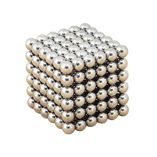 立体 パズル 磁石 マグネットボール 216個 セット 5mm 教育 工具 球体 ネオジム (シルバー)
