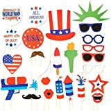 25-Piece Set of Photo Booth Props - All American Party Props Selfie Props Photo Booth Accessories Photo Booth Kit for Independence Day Patriotic Celebrations [並行輸入品]