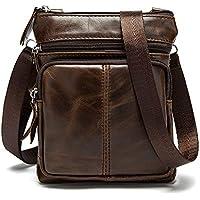 BAKUN Genuine Leather Messenger Bag Small Travel Sling Pack for Business