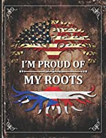 Im Proud of My Roots: Vintage Puerto Rico and American Flag Personalized Gift for Coworker Friend  Lightly Lined Pages Daily Journal Diary Notepad