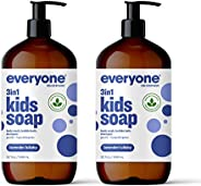 Everyone 3-in-1 Kids Soap: Body Wash, Bubble Bath, and Shampoo, Lavender Lullaby, 32 Ounce, 2 Count- Packaging