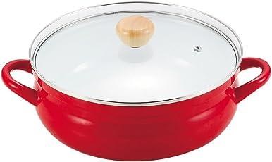 パール金属 ビュート ホーローガラス蓋よせしゃぶ鍋26cm レッド H-3815