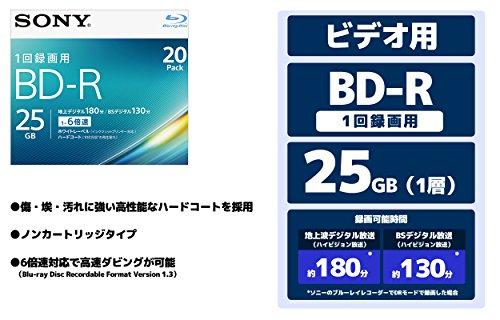 SONY ビデオ用ブルーレイディスク 20BNR1VJPS6(BD-R 1層:6倍速 20枚パック)