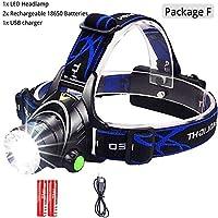 ヘッドランプ、 ヘッドランプは、LEDヘッドランプL2 /釣り狩猟のための18650バッテリーによってT6ズーム可能なヘッドライトヘッドトーチ懐中電灯ヘッドランプを6000lumens キャンプ、ハイキング、アウトドア用 (Body Color : L2 8000 Lumen, Emitting Color : Package F)