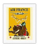 ヨーロッパ - 東方 - 極東 - エールフランス - 象とキャリッジ - ビンテージな航空会社のポスター によって作成された レイ・バート・コック c.1938 - キャンバスアート - 41cm x 51cm キャンバスアート(ロール)