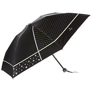 (ムーンバット) MOONBAT ランバンオンブルー 折りたたみミニ傘(遮熱&遮光) パラソル&雨傘 晴雨兼用 顔料プリント×Wピコ 22-084-90240-02 15-50 ブラック 親骨の長さ50cm