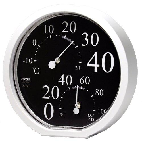 クレセル 温湿度計 ブラック CR171K