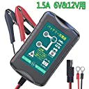 LST バッテリー充電器 バッテリーチャージャー 6Vと12V用 メンテナンス充電器 5-40Ahバッテリー用 自動車 バイク用 全自動充電 LED表示 逆接続&ショート&過電圧&電流保護 (黒)