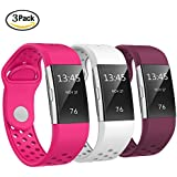 "SWEES Silicone Bands Compatible Fitbit Charge 2, 3 Packs Sport Breathable Replacement Bands Women Men Small & Large (5.7"" - 8.3""), Black, Grey, Navy Blue, Pink, White, Teal"