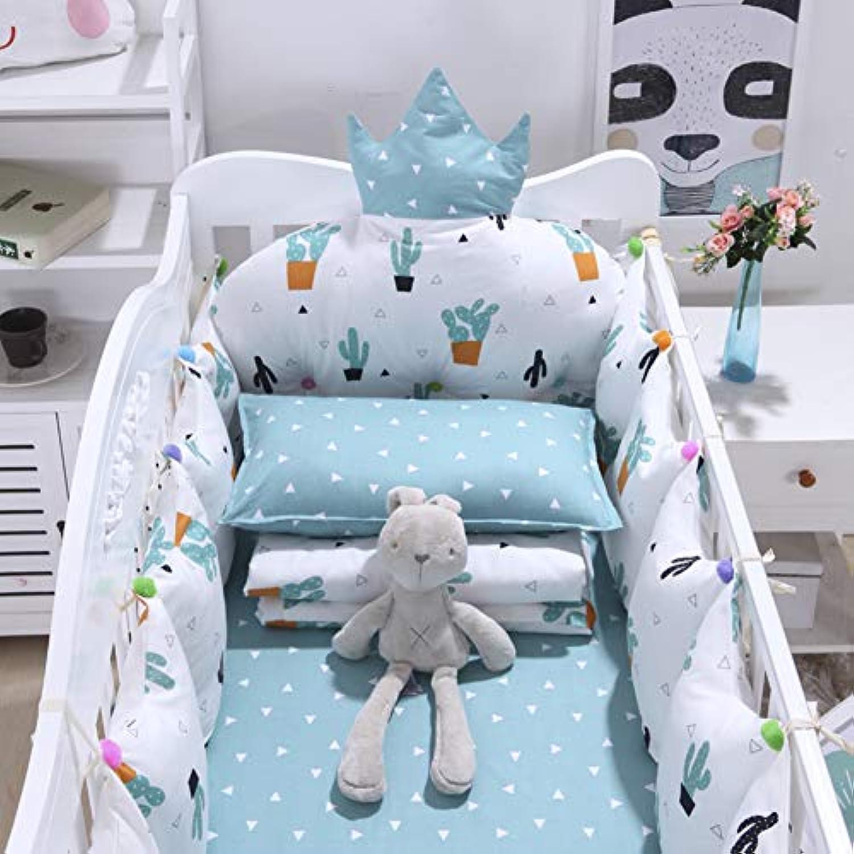 Rart コットンのリバーシブル ベビー寝具セット,バンパーのすべてのラウンド ユニセックス 無衝突赤ちゃんベビーベッド バンパー パッド入りベビーベッド バンパー-防止アレルギー -H パッケージA