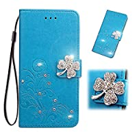 Galaxy A40 Case credit Card Leather,Luckyandery Leather ウォレット Case,マグネット閉鎖カバー Cover with Stand Function & Credit Card Slots 対応 Samsung Galaxy A40,Blue