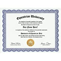 Equestrian Degree: Custom Gag Diploma Doctorate Certificate (Funny Customized Joke Gift - Novelty Item) by GD Novelty Items [並行輸入品]