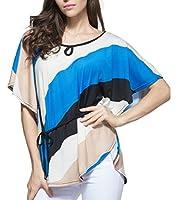 maweisong 女性のカジュアルなバットウィングスリーブカラーブロックルーズフィットトップティーシャツ・ブラウス Royal blue M