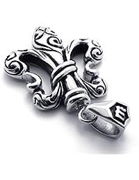 [テメゴ ジュエリー]TEMEGO Jewelry メンズステンレススチールヴィンテージペンダントゴシック鋳物クロスネックレス、ブラックシルバー[インポート]