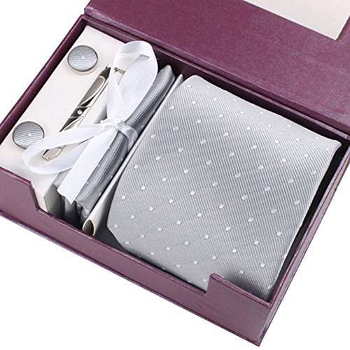HappinessPlus(TM)ネクタイ ネクタイピン ポケットチーフ カフス 4点 セット ビジネス/結婚式/二次会/パーティー 収納ボックス付き グレー 【HPS-41199】