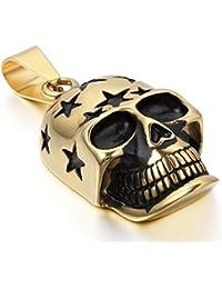 JewelryWe ネックレス メンズ クリスマス ジュエリー ゴシック 髑髏 頭蓋骨 ドクロ スカル スター 五芒星 ステンレス ゴールド(金)