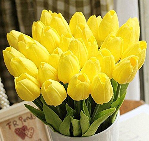 Yidarton 高品質チューリップの造花 手作りブーケ フラワーアレンジ かわいい インテリア飾り 本物みたい ギフト 20本セット 全4色  (イエロー)