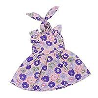 Prettyia ファッション 花柄 ノースリーブドレス ヘアバンド 18インチアメリカンガールドール人形のため 人形服 全3カラー - 紫