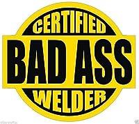 MFX Design Certified Bad A$$$ Welder ステッカー デカール ブラック イエローのハードハットステッカー デカール ヘルメットステッカー デカール ツールボックス ステッカー デカール ビニール - アメリカ製 2インチ 丸型 各