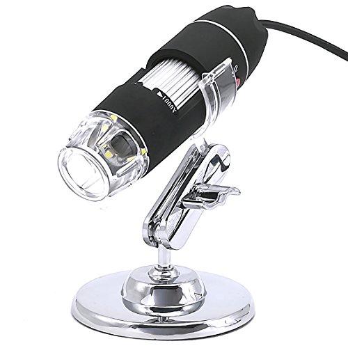 デジタル顕微鏡 USB顕微鏡 電子顕微鏡 カメラ マイクロスコープ 最大1000倍高倍率 高解像度 8LEDライト搭載 2.0MP CMOS付き USB接続 PC対応 肌チェック/生物観察/細かい部品チェック実験に