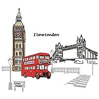 uxcell ウォールステッカー 壁ステッカー 移し絵 家庭用品 ロンドンの街 のパターン 取り外し可能 1個入り