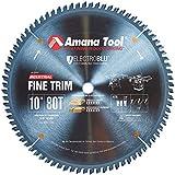 """Amana Tool - 610800C Electro-BLU Carbide Tipped Trim 10"""" Dia x 80T ATB, 10 Deg, 5/8 BO"""