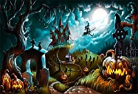ofila 7x 5ftビニールハロウィンBackdrop for Kids Creepy Graveyard Halloween Laterns Witchs城Crow魔法にかけられてフォレストChildren Baby Video Studio小道具