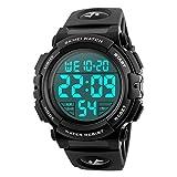 BesWlzメンズ腕時計デジタルスポーツウォッチ防水屋外電子LEDバックライトディスプレイアラームストップウォッチ50M防水(ホワイト)
