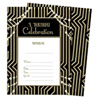 Gatsby ハッピーバースデー招待状カード 2枚 (25枚) 封筒&シールシール付き ビニール製 女の子 男の子 キッズ パーティー (25枚)