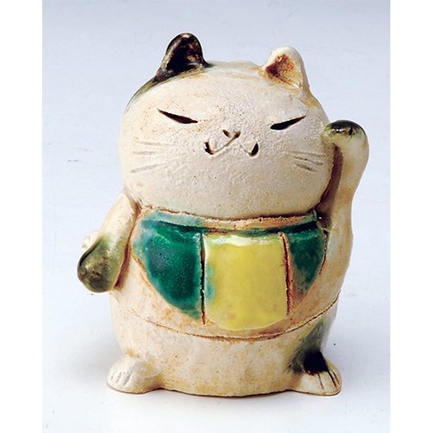 全体にシェーバー所持香炉 白萩 招き猫(人)香炉(小) [H8cm] HANDMADE プレゼント ギフト 和食器 かわいい インテリア