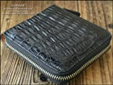 財布 短財布 ラウンド財布 クロコダイル 本革 鰐革 ピッグスキン 本物 高級 人気モデル メンズ 紳士 3608002 (クロコダイル・黒)