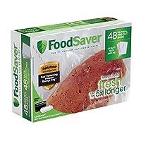 """FoodSaver 8""""x11"""" 1 Qt、事前にカットされた食品保存袋(48袋)"""
