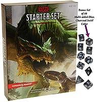 Dungeons & Dragons Starter Set _ with Bonus Charcoal Swirl 10 Piece Dice Set _ D&D Starter Set _ Bundle by Deluxe Games