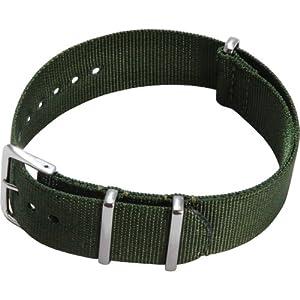 [カシス]CASSIS TYPE NATO ナトータイプ時計ベルト 20mm グリーン ファブリック時計ベルト #141.601S 072 020
