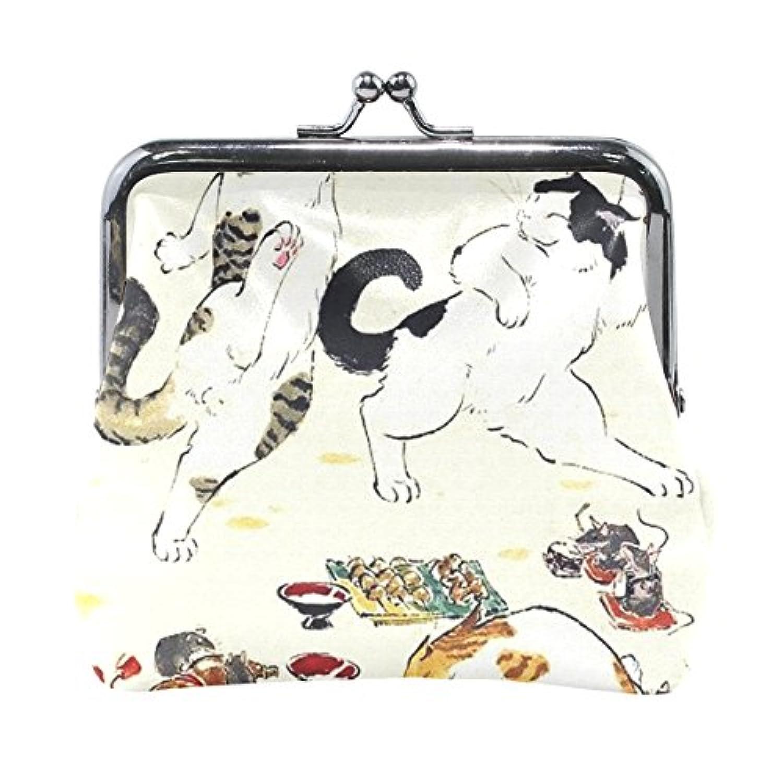 がま口 小銭入れ 財布 猫のパーティー 浮世絵 コインケース レザー製 丸形 プレゼント ギフト 雑貨