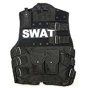 Manu20 特殊部隊SWAT タクティカルベスト Tactical Vest 防弾チョッキ 高品質ボディアーマー ブラック--戦術ベルト付け (160-170身長, SWAT)