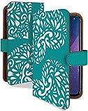 FREETEL REI2 Dual ケース 手帳型 ハート グリーン おしゃれ シンプル スマホケース フリーテル レイ2 デュアル 手帳 カバー FREETELrei2dual rei2 dualケース rei2 dualカバー ハート柄 ファッション [ハート グリーン/t0681c]