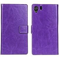 iCoverCase ソニー SONY Xperia Z1 (SO-01F ドコモ / SOL23 au) 用 ケース 携帯 カバー 手帳型 財布型 横開き クレイジーホースレザー 製(PUレザー) パープル 【選べる9色】