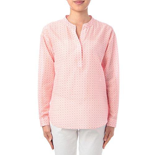 (リフレクト)Reflect シルク混小紋柄キーネックシャツ ベビーピンク(171) 09(M)