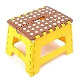 耐荷重 150kg 折り畳み 式 踏み台 滑り止め 付き チェアー ベンチ (小 茶×黄)