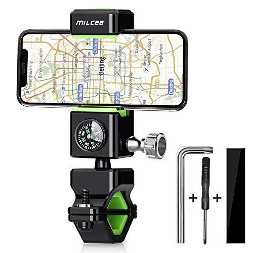 Milcea 自転車ホルダー バイク スマホ ホルダー 携帯 360度回転 LEDライト コンパス付き GPSナビ 強力固定 脱落防止 横幅調節 iPhone/Android/Xperia/Sony/LG/Samsung 全機種対応 説明書付き