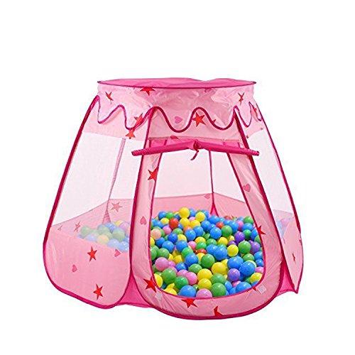 Richino 子供用テント キッズテント 知育玩具 収納バッグ付き、室内室外 子供遊ぶハウス (ピンク)