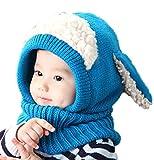 HKH キッズ ニット 帽 ネックウォーマー うさ耳 ニット帽 赤ちゃん ベビー 帽子 防寒 子供 衣装 (ブルー)