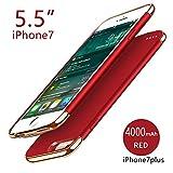 バッテリー内蔵ケース iPhone 7 Plus iPhone 8 Plus 4000mAh Batteryチ用 ケース型バッテリー 大容量 超軽量 急速充電 Red